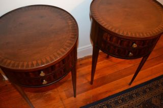 Matching Antique Parquetry Louis Xv Style Sofa End Tables photo