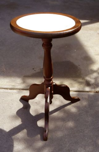 Antique Marble Top Solid Wood Stand,  49 Cm Tall,  Euc. photo