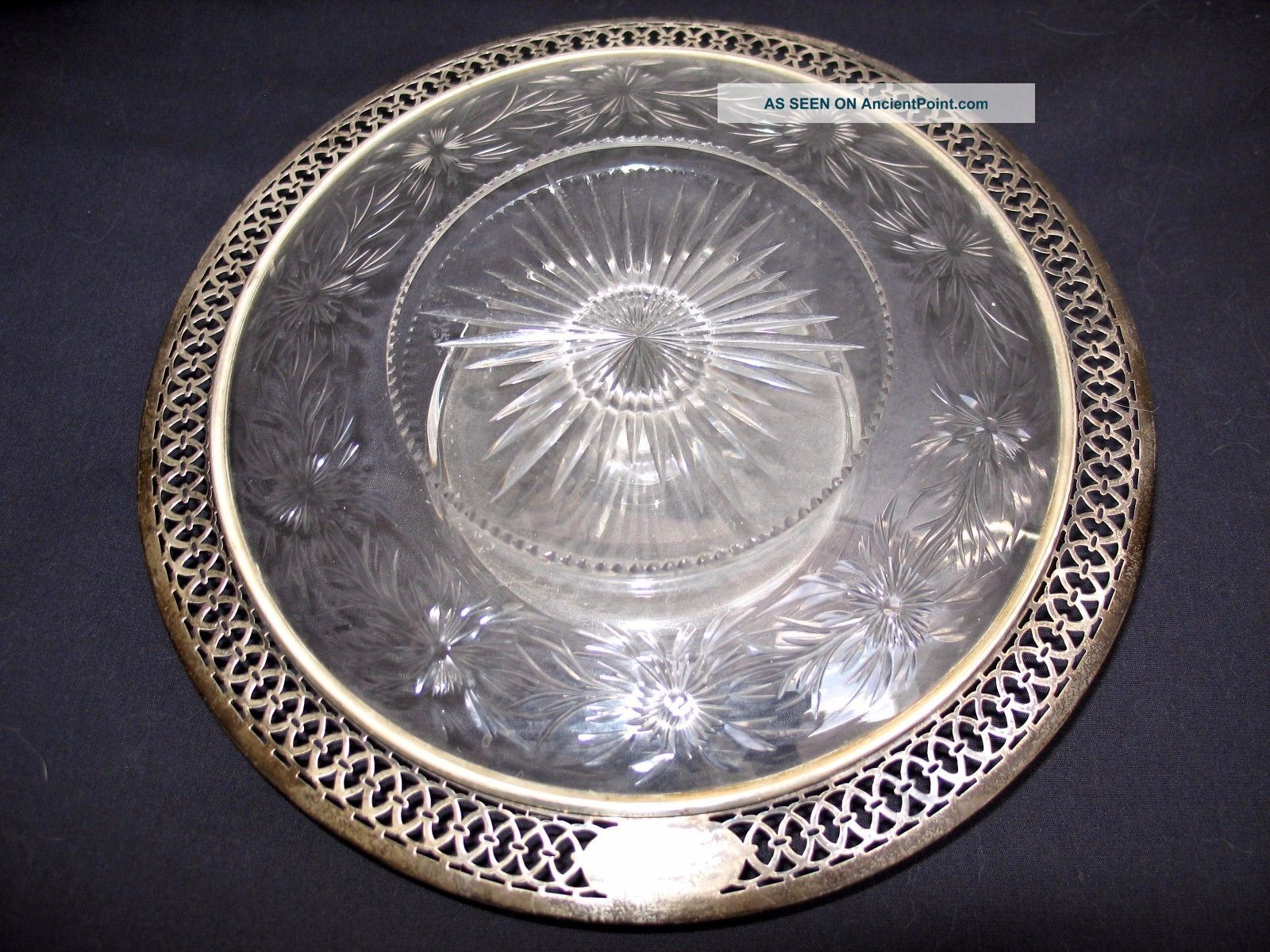 Gorgeous Antique Black Starr & Frost Cut Glass And Sterling Reticulated Stand Plates & Chargers photo
