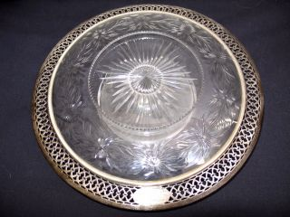 Gorgeous Antique Black Starr & Frost Cut Glass And Sterling Reticulated Stand photo
