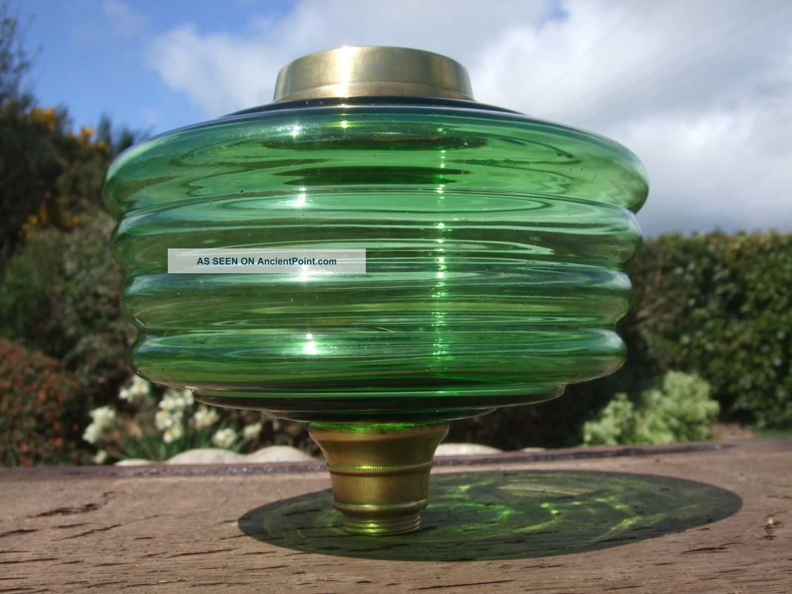 Green Glass Oil Lamp Font 20th Century photo