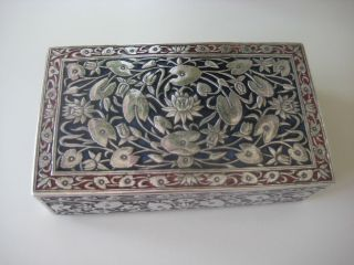 Stunning Antique Indian Solid Silver And Enamel Box - Large photo