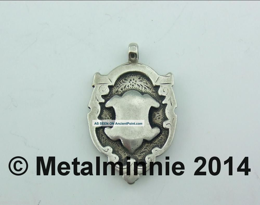 Attractive Antique Unengraved Silver Fob / Medal / Charm 1918 Pocket Watches/ Chains/ Fobs photo