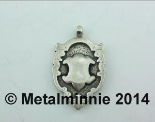 Attractive Antique Unengraved Silver Fob / Medal / Charm 1918 photo