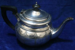 Silver Plated Teapot (slight Mis - Shape To Base) C.  1910 photo