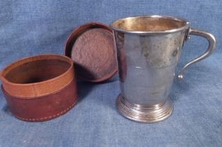 Antique Silverplate Doc Holiday Collapsible Whiskey Cup W Leather Case photo