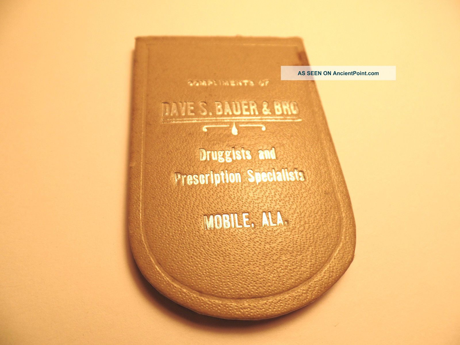 Early Bauers Baby Cough Syrup Adv Pocket Mirror Bauer Druggist Mobile Alabama Al Other photo
