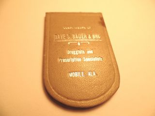 Early Bauers Baby Cough Syrup Adv Pocket Mirror Bauer Druggist Mobile Alabama Al photo