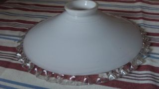 French Vintage Coolie White Frilled Glass Pendant Lamp / Light Shade (2) photo