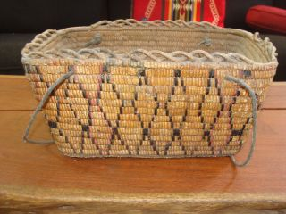 1800s Very Old Salish Fully Imbricated Leather Thong Hard Side Gathering Basket photo