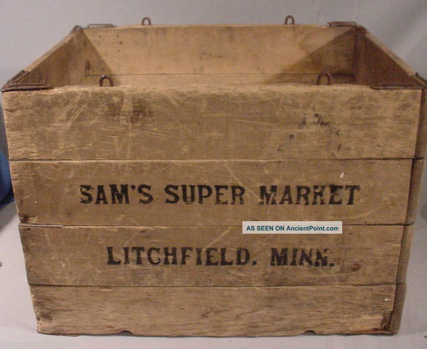 Hubbard Folding Box Co.  Wooden Box Crate Adv Sam's Market Litchfield Minn Other photo