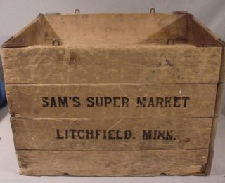 Hubbard Folding Box Co.  Wooden Box Crate Adv Sam's Market Litchfield Minn photo