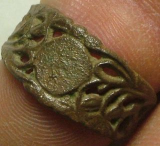 Rare Ancient Roman Byzantine Open Work Ring Artifact Amulet Size 8 photo