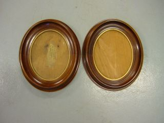 Antique Pair Oval Victorian Walnut Shadow Box Picture Frame Shadowbox photo