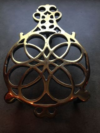 Antique English Brass Round Trivet photo