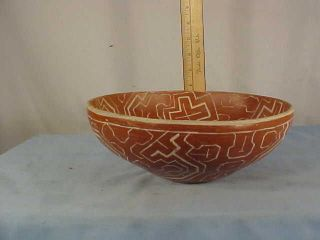 Vintage Shipibo Peru Amazon Indian Traditional Pottery Bowl photo