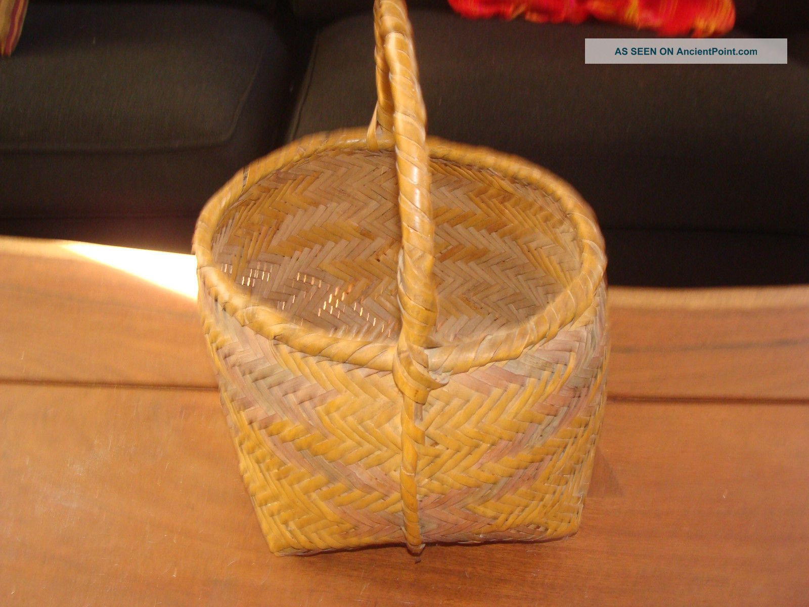 1800s Very Old Choctaw River Cane Gathering Basket - Color And Vg Native American photo