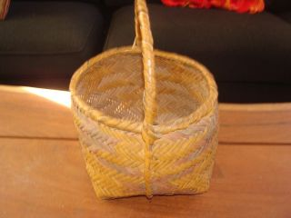 1800s Very Old Choctaw River Cane Gathering Basket - Color And Vg photo