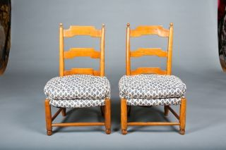 Early 19th Century French Maple Child ' S Chairs With Custom Upholstery photo