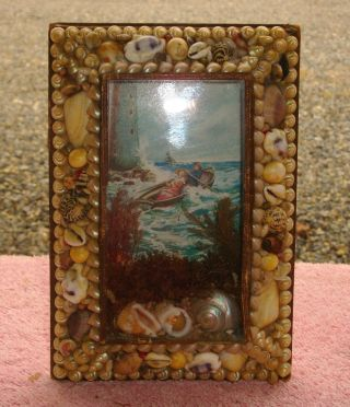 1800s Sailor Valentine Victorian Shell Art Sailing Ship Grace Darling Lighthouse photo