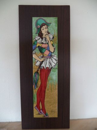 Vintage Midcentury Harlequin Women Handpainted Signed Ceramic Tiles Wall Plaque photo