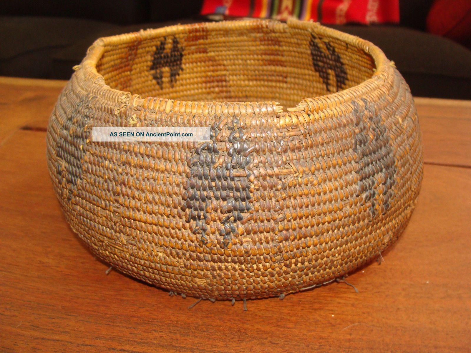 Rare Large Globular Native Use Pomo California Native American Indian Basket Native American photo