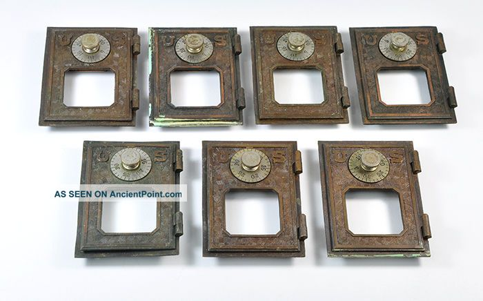 Vintage U.  S.  Postal Office Box Doors Brass Eagle Lock Antique Po Box Old Other photo