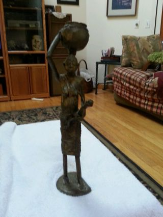 African Tribal Solid Bronze Woman Statue With Pot On Head 13 Inches Tall Nr photo