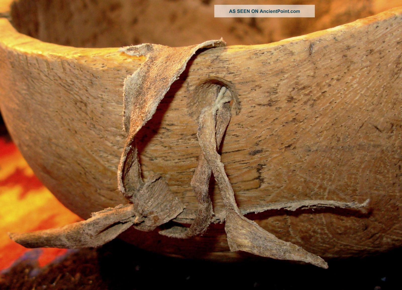 Rare Native American Hand Carved Wood Bowl/rawhide Strap/primitive/apache? Native American photo