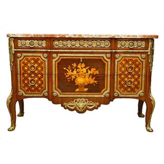 French Louis Xvi Style Marquetry Commode photo