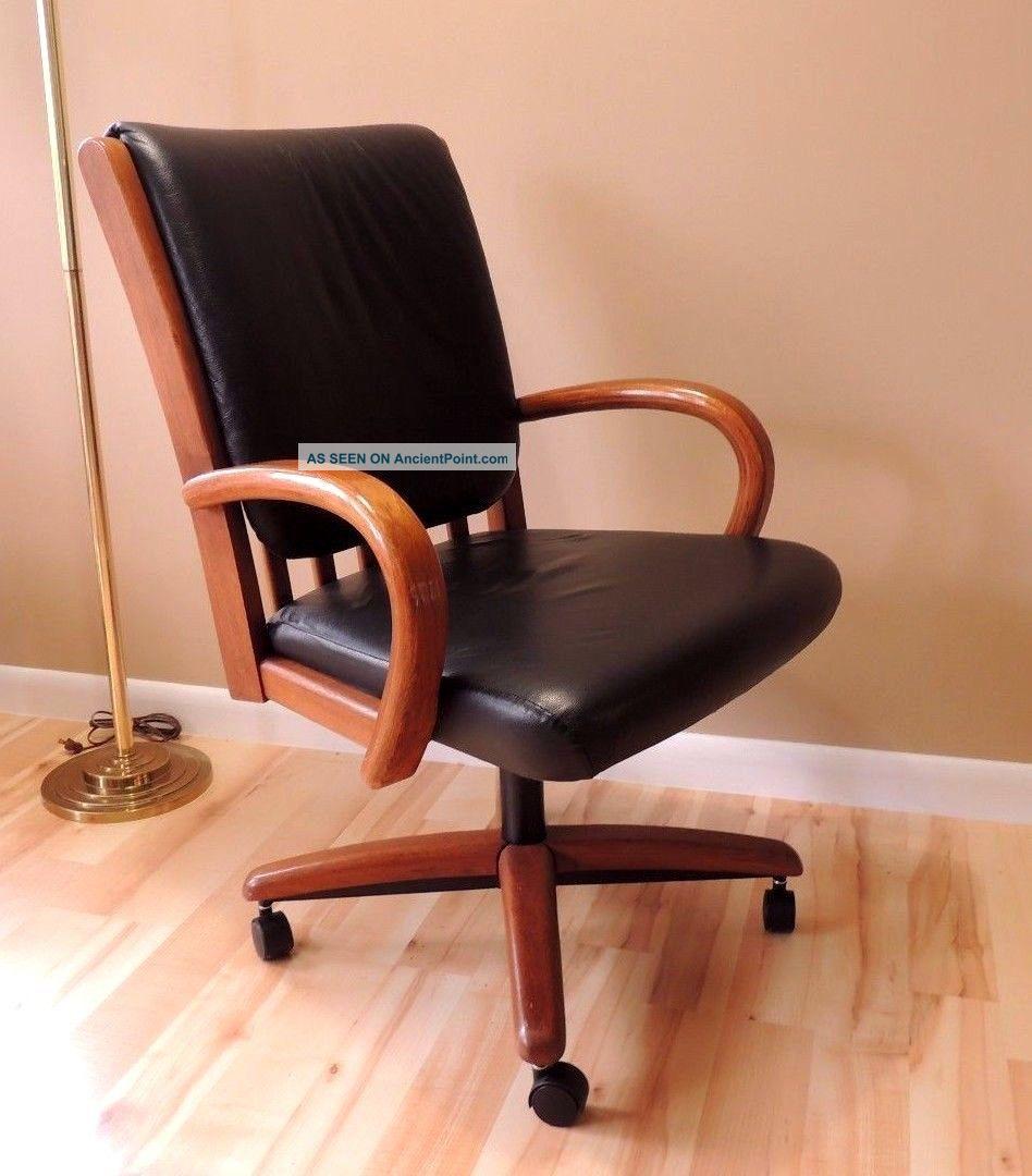 vtg chromcraft swivel office desk wood chair black leather u
