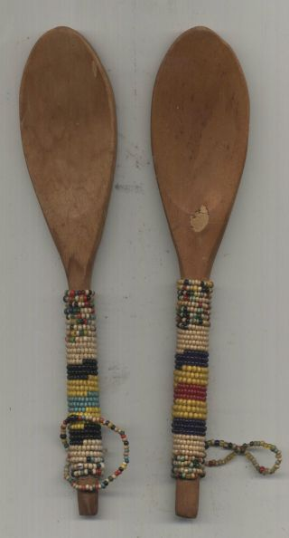 Two Old Zulu Beaded Spoons photo