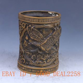 Chinese Brass Hand Carved Brush Pot The Eagle Xuande Mark photo