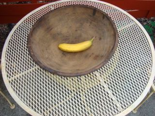 Antique Primitive Wood Bowl Med 16 ,  - Out Of Round Dark Patina Org C:1800s photo