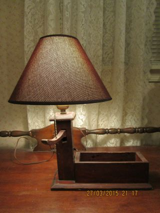 Rustic Wood Trough Pump Lamp With Shade photo