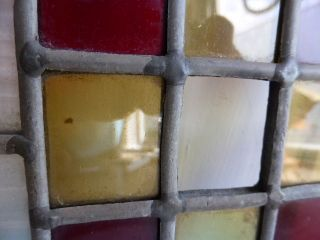 Antique Victorian Small Stained Glass Leaded Light Window Panel photo