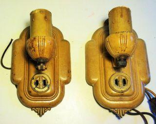 Antique Pair Art Deco Sconces Markel Candle Light Cast Iron Orig Paint & Wire photo