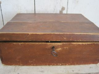 19th Century Red Paint Wood Box With Key Dovetails Primitive Find Aafa photo