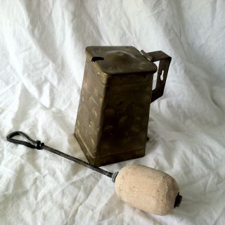 Early Brass Cape Cod Shop Fire Starter / Smudge Pot With Pumice Wand photo