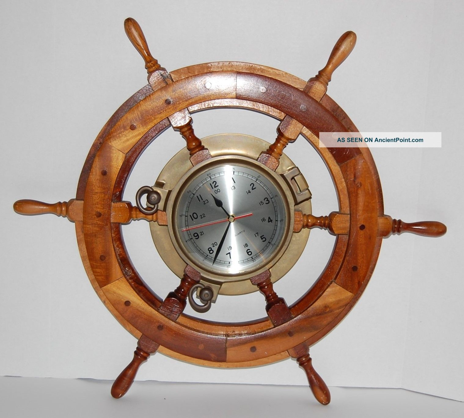 Vintage Wood Ship Steering Wheel Brass Quartz Ships Clock 24