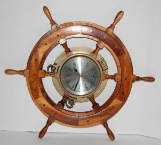Vintage Wood Ship Steering Wheel Brass Quartz Ships Clock 24