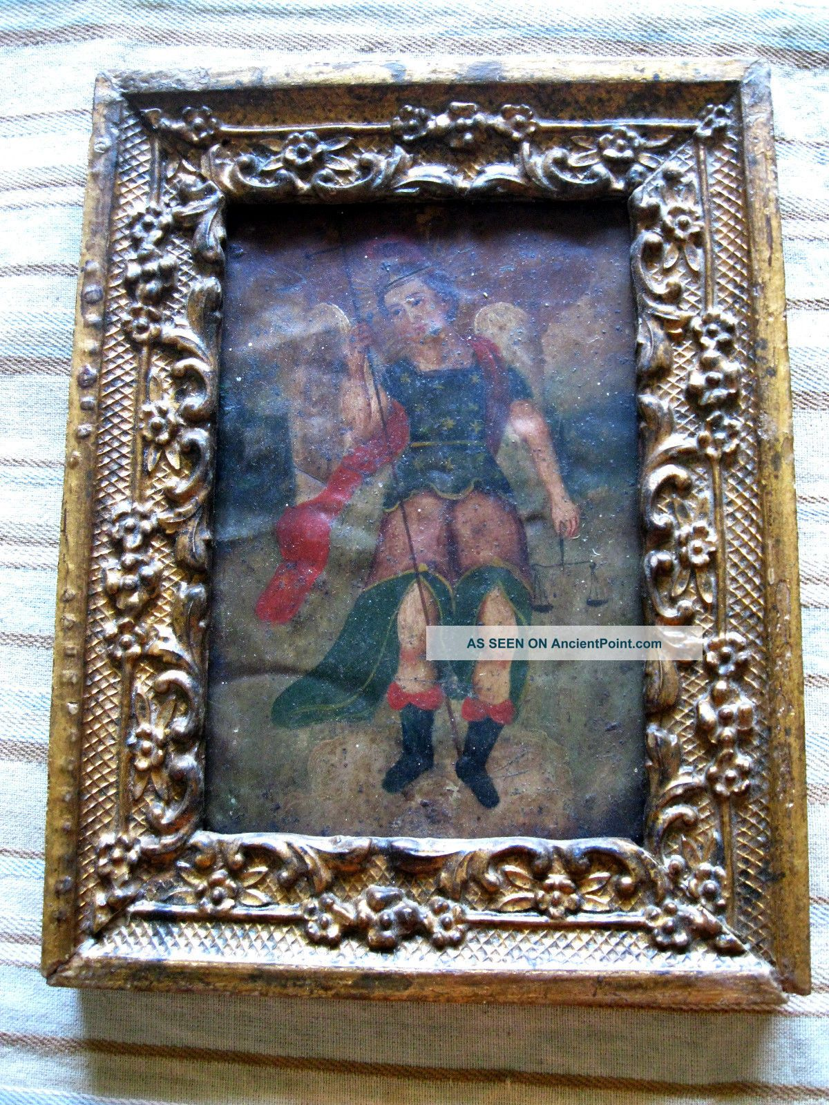 Antique Retablo On Tin,  Archangel Michael W/ Antique Carved Wood Frame Latin American photo