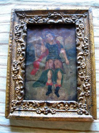 Antique Retablo On Tin,  Archangel Michael W/ Antique Carved Wood Frame photo