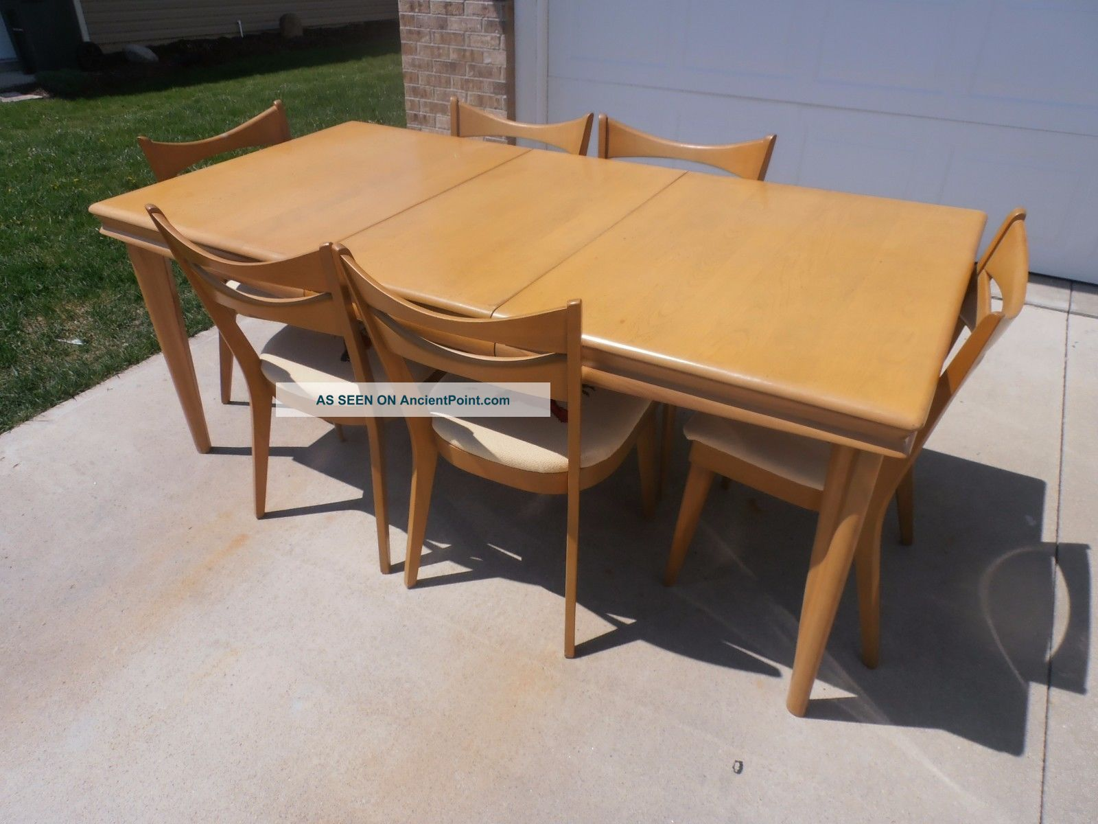 Heywood Wakefield Dining Table With 6 Chairs Wheat Post-1950 photo