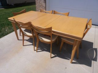 Heywood Wakefield Dining Table With 6 Chairs Wheat photo