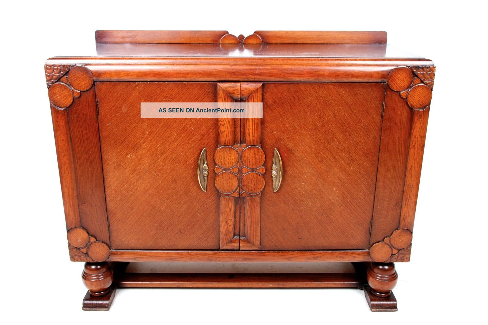 Vintage Oak Sideboard Credenza Buffet Art Deco Jacobean Revival 1930s 40s 1900-1950 photo