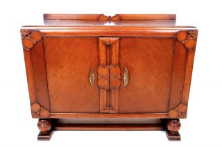 Vintage Oak Sideboard Credenza Buffet Art Deco Jacobean Revival 1930s 40s photo