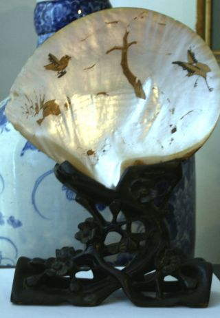 Antique Mother Of Pearl Shell On Stand Wth Remains Of Shibayama Decoration photo