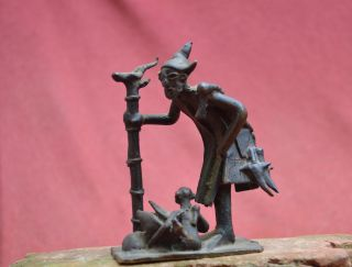 Interesting Bronze Statue Of A Shaman,  Figure With Bird Ashanti People In Ghana. photo