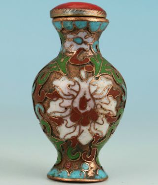 Chinese Old Cloisonne Collectable Handwork Painting Flower Snuff Bottle Statue photo